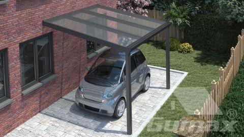 Klassieke carport in mat antraciet van 3,06 x 3 meter met heldere polycarbonaat