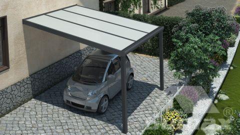 Gumax carport 3.06m  x 3.5m modern antraciet opaal polycarbonaat boven