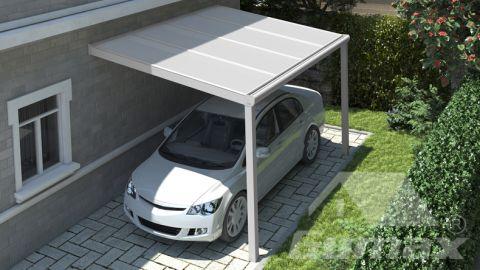 Moderne carport in mat wit van 4,06 x 2,5 meter met IQ Relax polycarbonaat