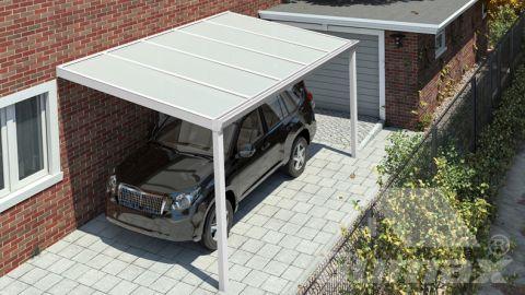 Klassieke carport in mat wit van 5,06 x 2,5 meter met IQ Relax polycarbonaat