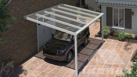 Klassieke carport in mat wit van 5,06 x 3,5 meter met heldere polycarbonaat