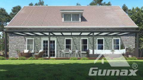 Moderne terrasoverkapping in mat antraciet van 12,06 x 2,5 meter met melkglas dak