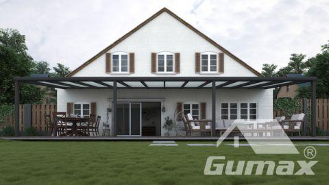 Moderne terrasoverkapping in mat antraciet van 12,06 x 3,5 meter met melkglas dak