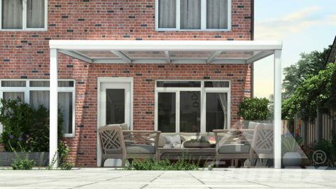 Moderne terrasoverkapping in mat wit van 4,06 x 3,5 meter met heldere polycarbonaat
