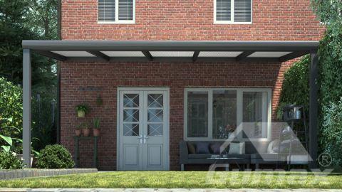 Gumax terrasoverkapping 5.06m  x 2.5m modern antraciet opaal polycarbonaat voor