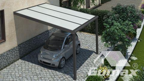 Gumax carport bovenaanzicht 3.06m breed x 3.5m diep modern antraciet met opaal polycarbonaat dak