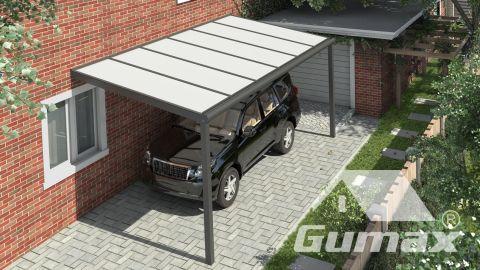 Moderne carport in mat antraciet van 6,06 x 2,5 meter met IQ Relax polycarbonaat