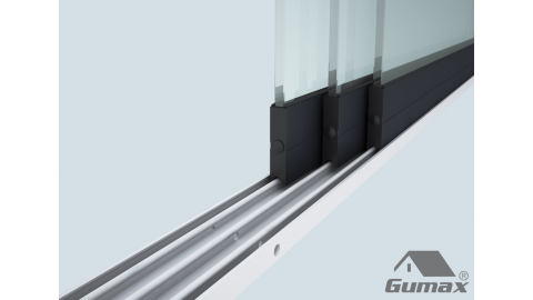 Gumax mat antraciet glazen schuifdeuren met rails 5 1