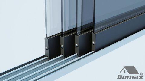 Gumax mat antraciet glazen schuifdeuren met rails 5 1 1