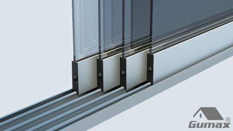 Gumax mat crème glazen schuifdeuren met rails 29