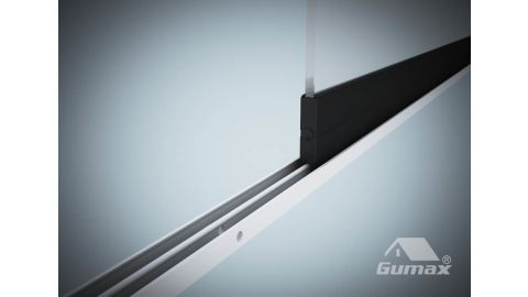 Gumax glazen schuifwand mat antraciet 1-rail close-up