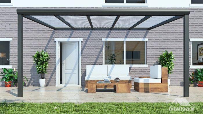 Wonderlijk Moderne terrasoverkapping in mat antraciet van 5,06 x 3,5 meter NF-77