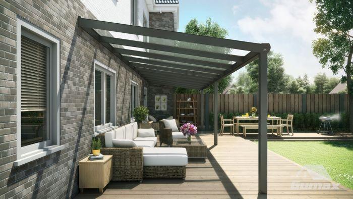 Super Moderne terrasoverkapping in antraciet van 10,06 x 2,5 meter met WY-19