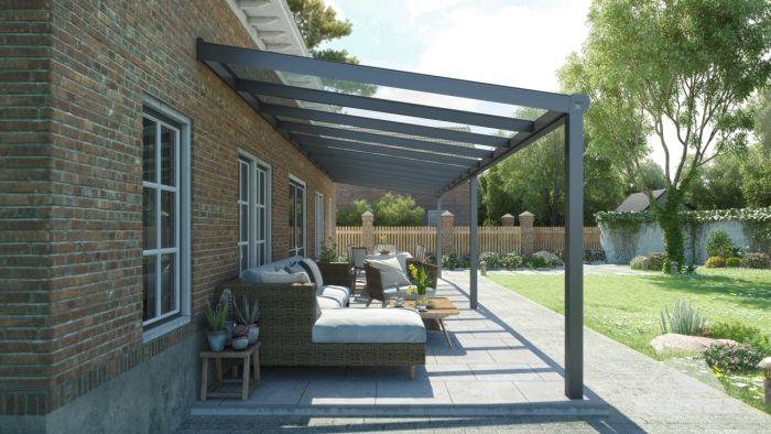 Wonderbaar Moderne terrasoverkapping in antraciet van 11,06 x 2,5 meter met MK-06