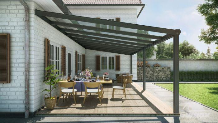 Uitgelezene Moderne terrasoverkapping in mat antraciet van 9,06 x 4 meter met VD-37