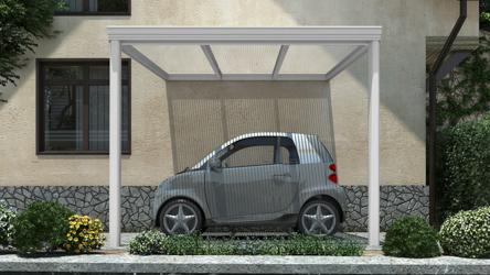 Klassieke carport in mat wit van 3,06 x 4 meter met heldere polycarbonaat - Tuinmaximaal