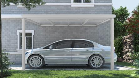 Klassieke carport in mat wit van 4,06 x 2,5 meter met heldere polycarbonaat - Tuinmaximaal