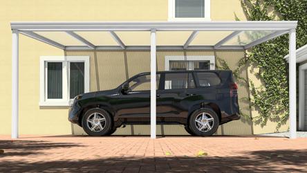 Klassieke carport in mat wit van 6,06 x 4 meter met heldere polycarbonaat - Tuinmaximaal