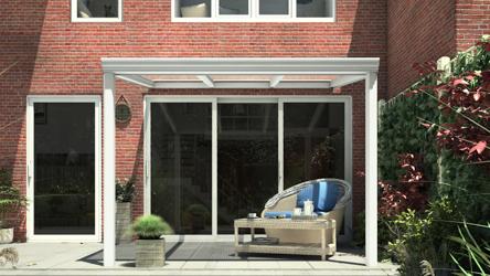 Klassieke terrasoverkapping in mat wit van 3,06 x 2,5 meter met heldere polycarbonaat - Tuinmaximaal