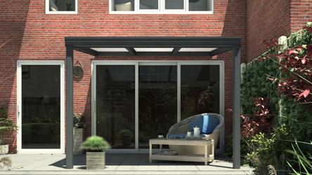 Klassieke terrasoverkapping in mat antraciet van 3,06 x 3 meter met IQ Relax polycarbonaat - Tuinmaximaal