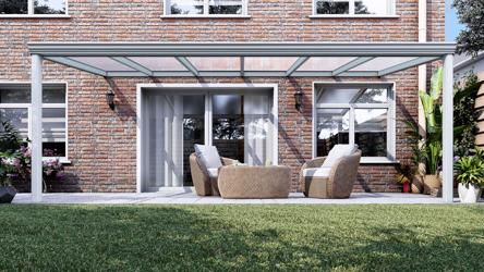 Klassieke terrasoverkapping in mat wit van 6,06 x 2,5 meter met heldere polycarbonaat - Tuinmaximaal
