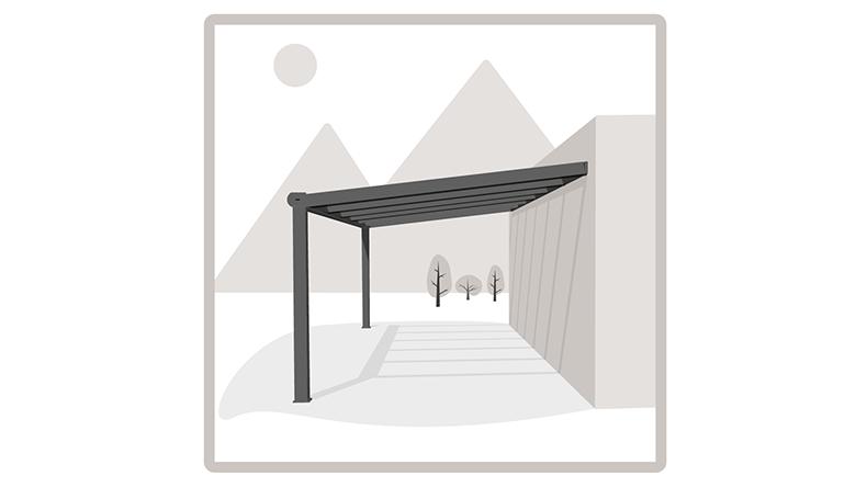 klassieke terrasoverkapping in mat antraciet van 5 06 x 4. Black Bedroom Furniture Sets. Home Design Ideas