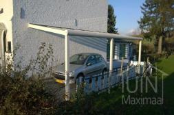 Moderne Gumax® Carport aan huis in mat creme