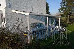 Moderne Gumax® Carport in mat wit van 6,06 x 3 meter met opaal polycarbonaat dakplaten