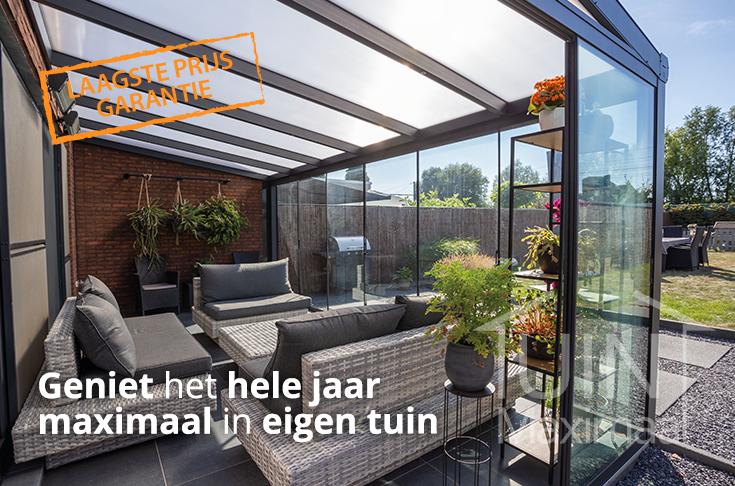 veranda modern met melkglas daktype in mat antraciet
